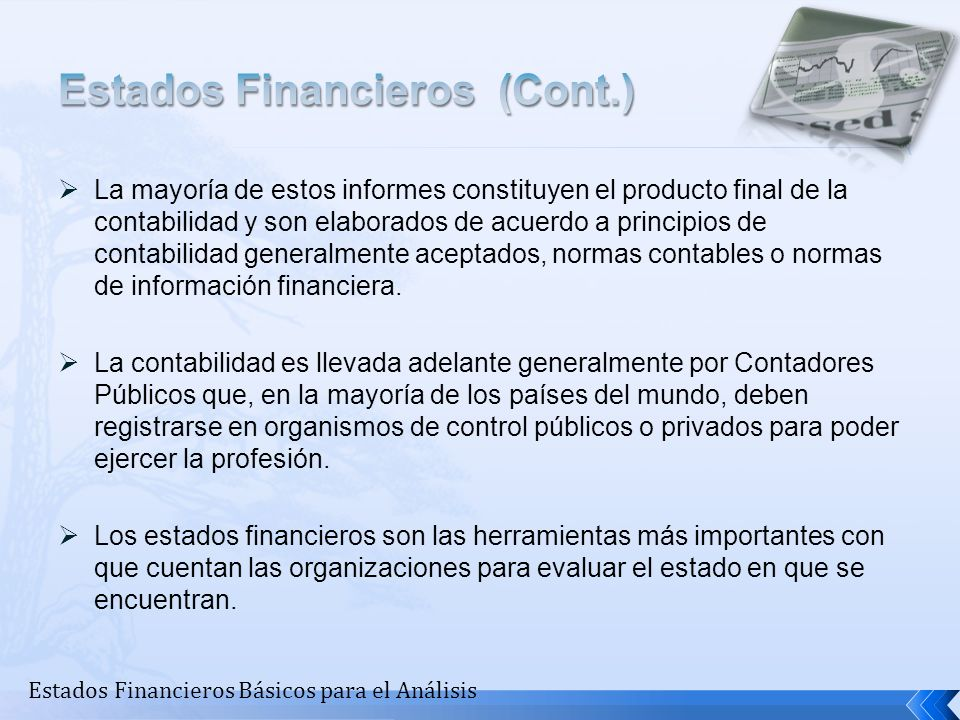 Estados Financieros (Cont.)