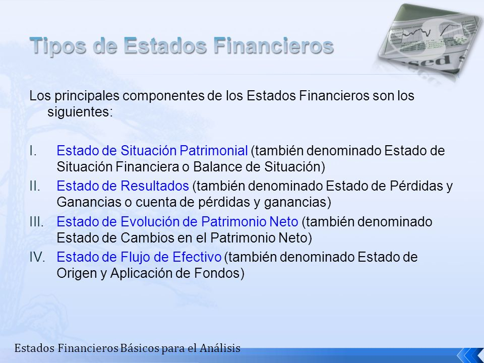 Tipos de Estados Financieros