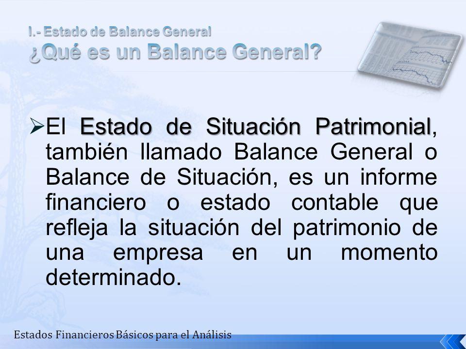 I.- Estado de Balance General ¿Qué es un Balance General