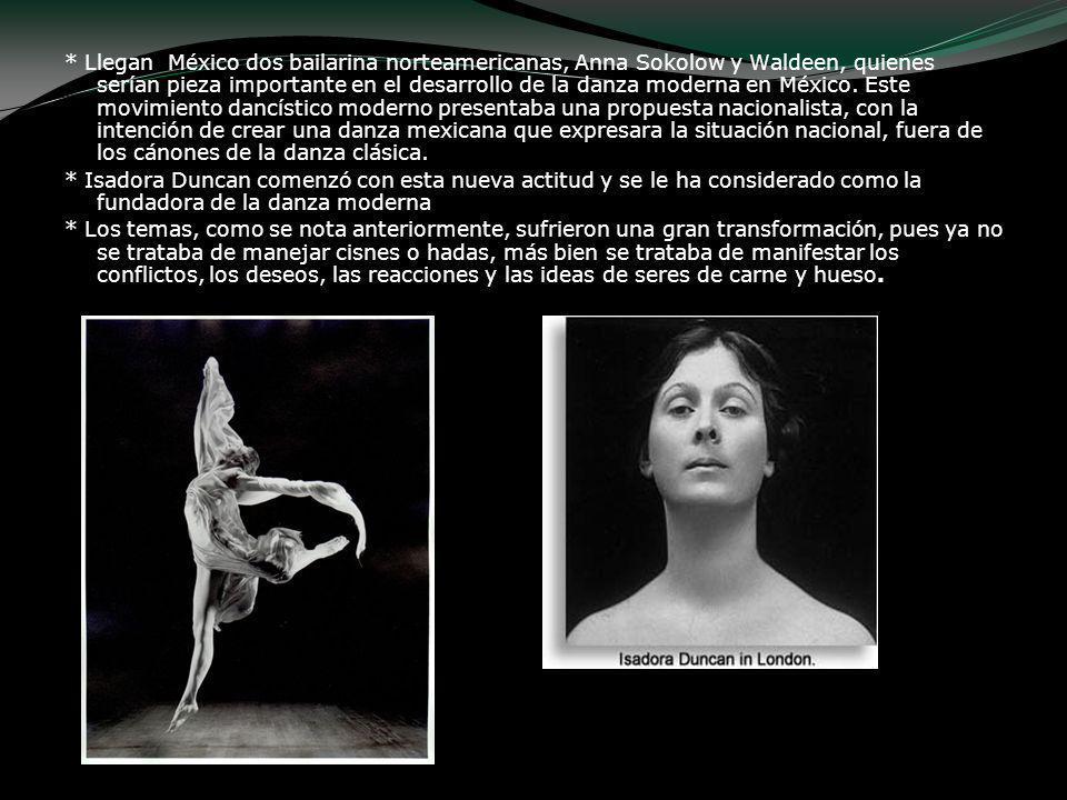 * Llegan México dos bailarina norteamericanas, Anna Sokolow y Waldeen, quienes serían pieza importante en el desarrollo de la danza moderna en México. Este movimiento dancístico moderno presentaba una propuesta nacionalista, con la intención de crear una danza mexicana que expresara la situación nacional, fuera de los cánones de la danza clásica.
