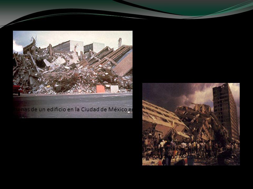Ruinas de un edificio en la Ciudad de México en 1985