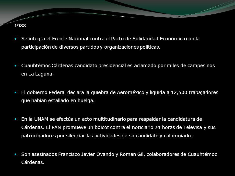 1988Se integra el Frente Nacional contra el Pacto de Solidaridad Económica con la participación de diversos partidos y organizaciones políticas.