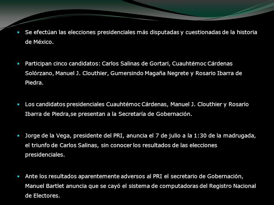 Se efectúan las elecciones presidenciales más disputadas y cuestionadas de la historia de México.
