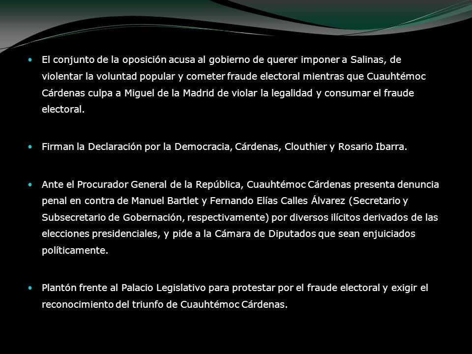 El conjunto de la oposición acusa al gobierno de querer imponer a Salinas, de violentar la voluntad popular y cometer fraude electoral mientras que Cuauhtémoc Cárdenas culpa a Miguel de la Madrid de violar la legalidad y consumar el fraude electoral.