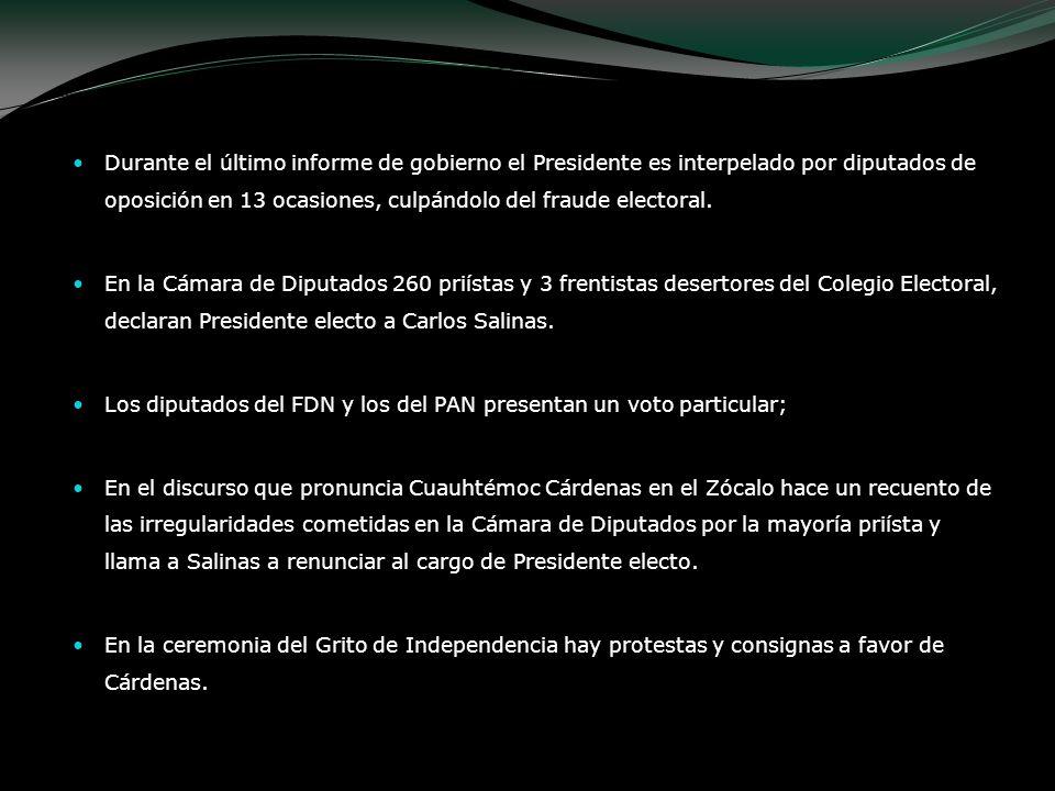 Durante el último informe de gobierno el Presidente es interpelado por diputados de oposición en 13 ocasiones, culpándolo del fraude electoral.