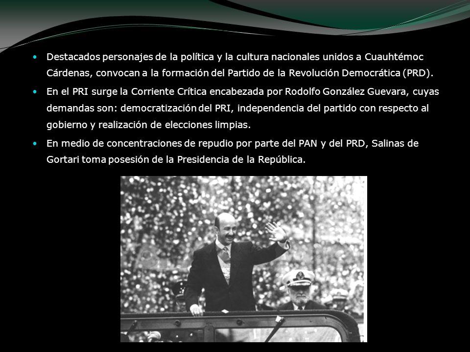 Destacados personajes de la política y la cultura nacionales unidos a Cuauhtémoc Cárdenas, convocan a la formación del Partido de la Revolución Democrática (PRD).
