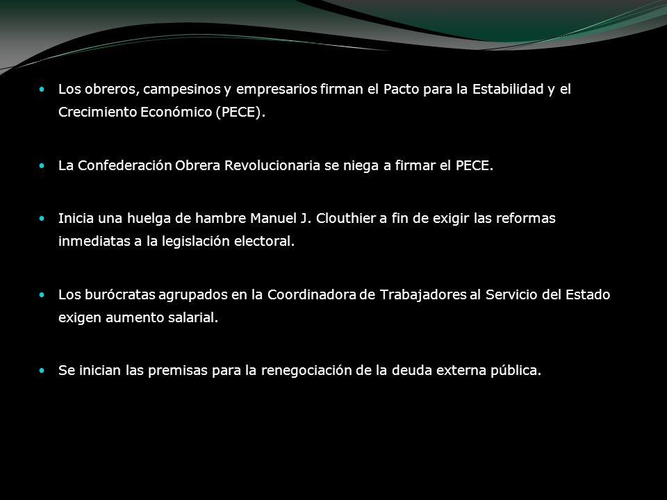 Los obreros, campesinos y empresarios firman el Pacto para la Estabilidad y el Crecimiento Económico (PECE).