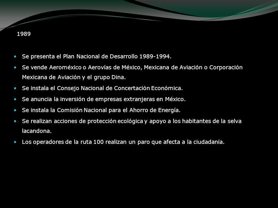 1989 Se presenta el Plan Nacional de Desarrollo 1989-1994.