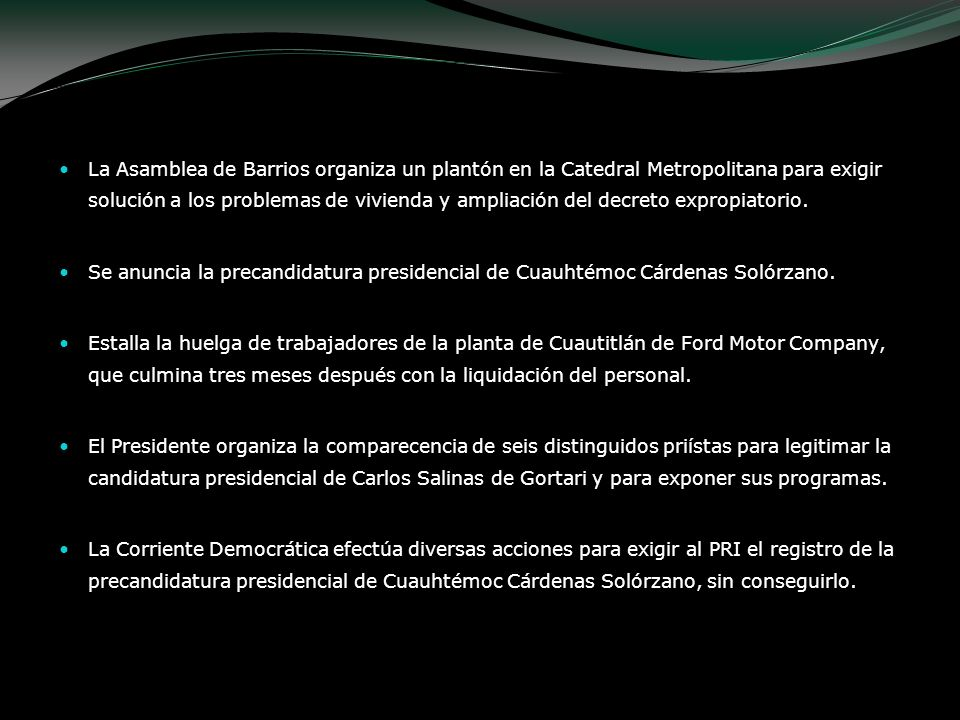 La Asamblea de Barrios organiza un plantón en la Catedral Metropolitana para exigir solución a los problemas de vivienda y ampliación del decreto expropiatorio.