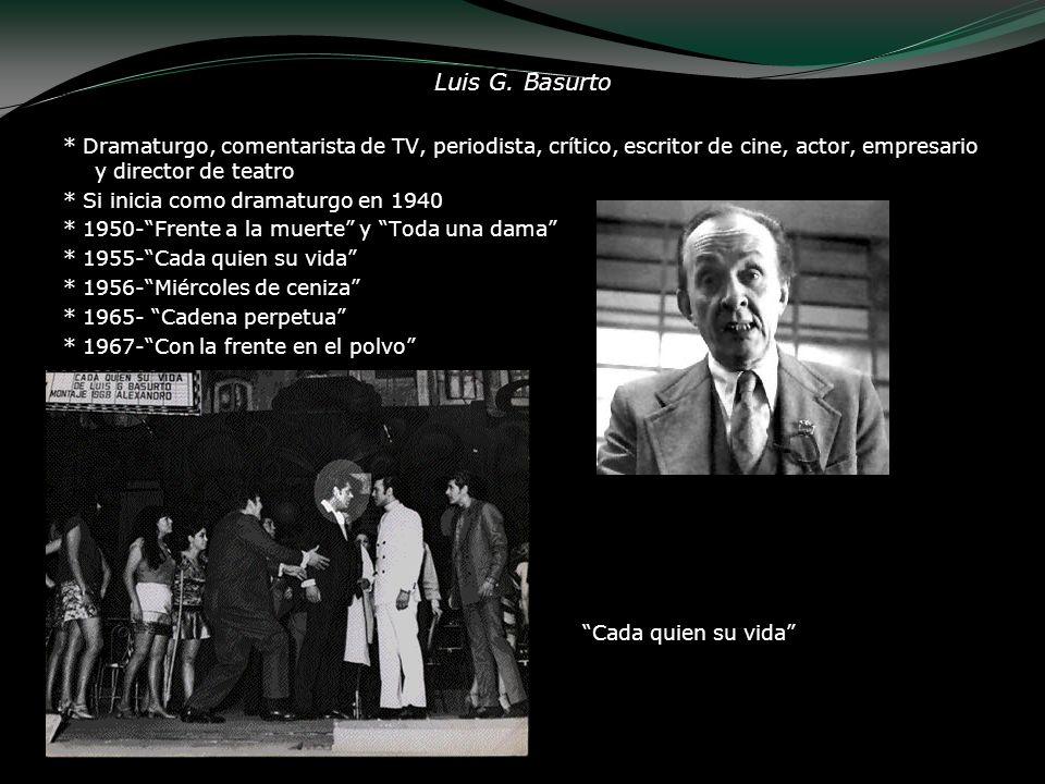 Luis G. Basurto * Dramaturgo, comentarista de TV, periodista, crítico, escritor de cine, actor, empresario y director de teatro.