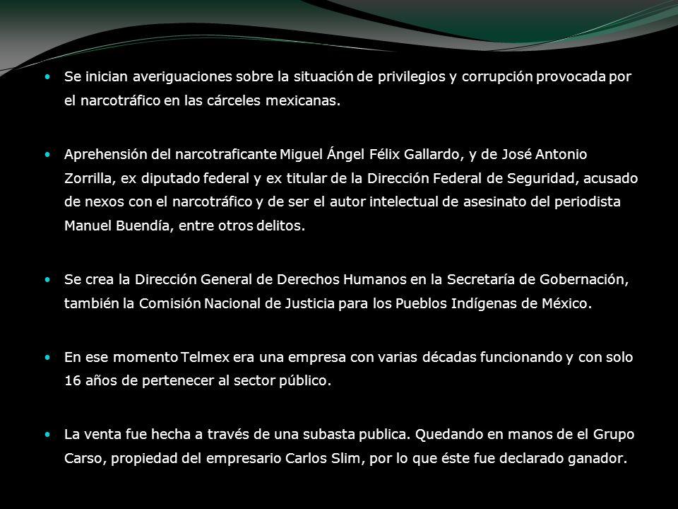 Se inician averiguaciones sobre la situación de privilegios y corrupción provocada por el narcotráfico en las cárceles mexicanas.