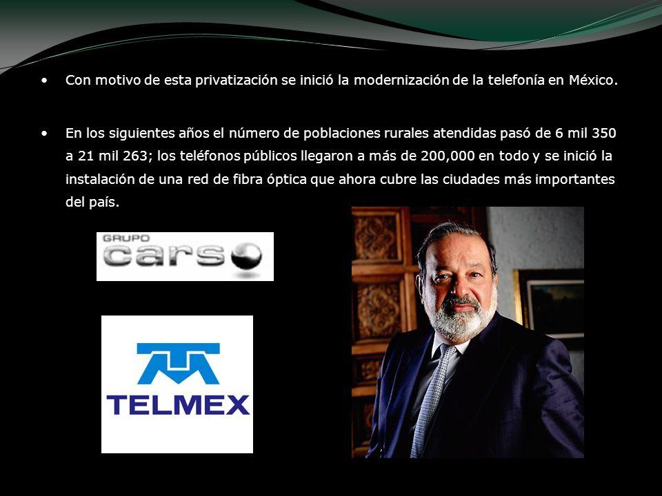 Con motivo de esta privatización se inició la modernización de la telefonía en México.