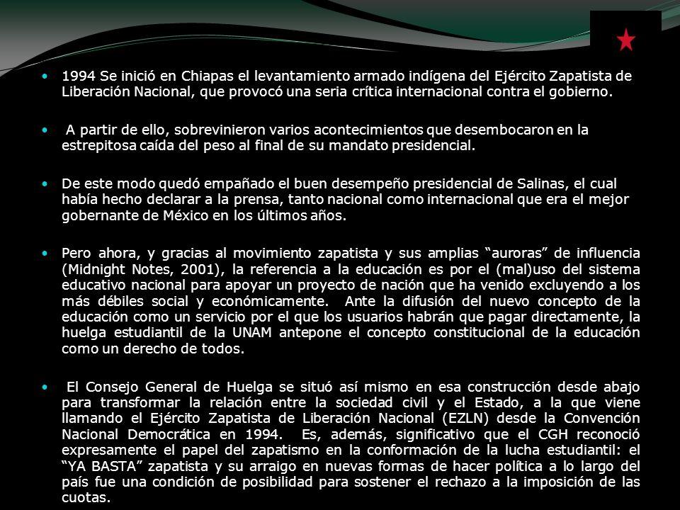 1994 Se inició en Chiapas el levantamiento armado indígena del Ejército Zapatista de Liberación Nacional, que provocó una seria crítica internacional contra el gobierno.