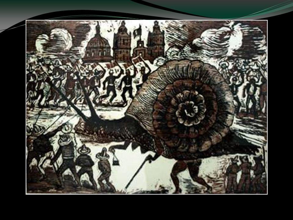 Doña Caracola llega tarde al Palacio,. Xilografía, fotograbado a color