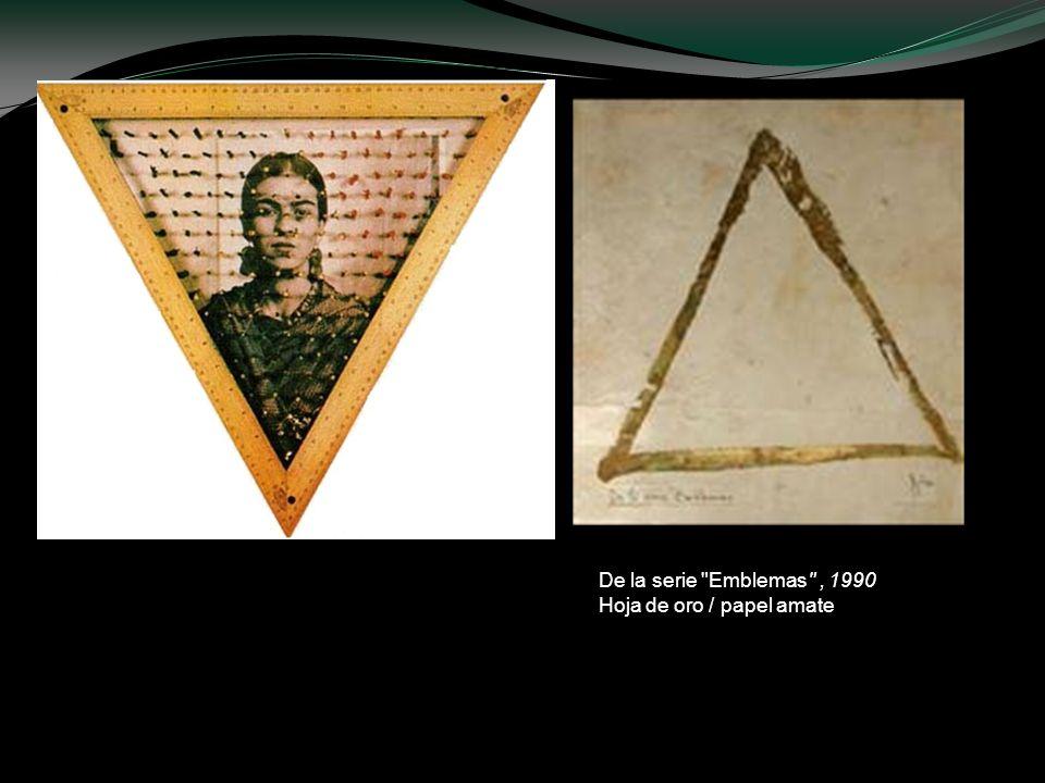 De la serie Emblemas , 1990 Hoja de oro / papel amate