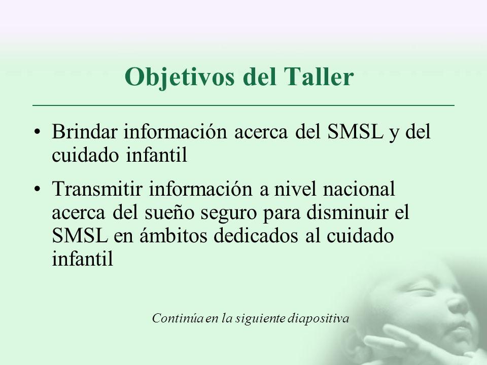 Objetivos del Taller Brindar información acerca del SMSL y del cuidado infantil.