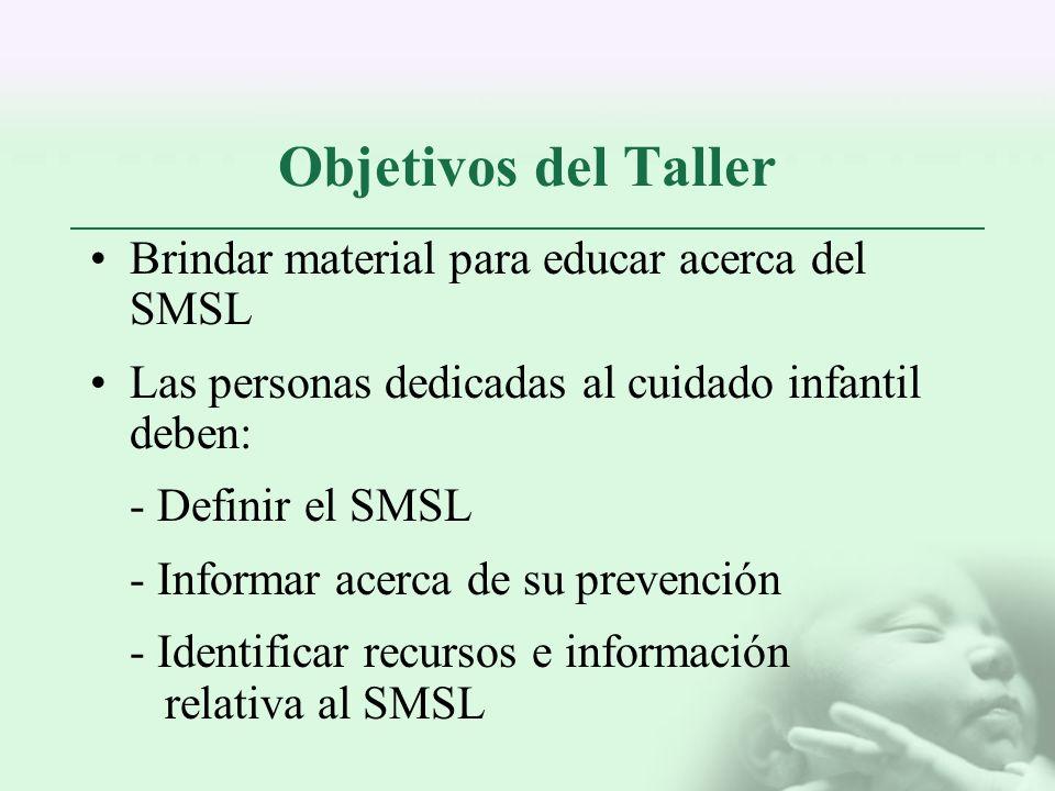 Objetivos del Taller Brindar material para educar acerca del SMSL