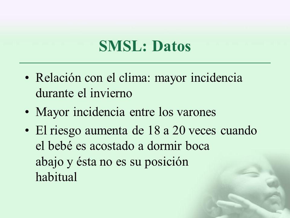 SMSL: Datos Relación con el clima: mayor incidencia durante el invierno. Mayor incidencia entre los varones.