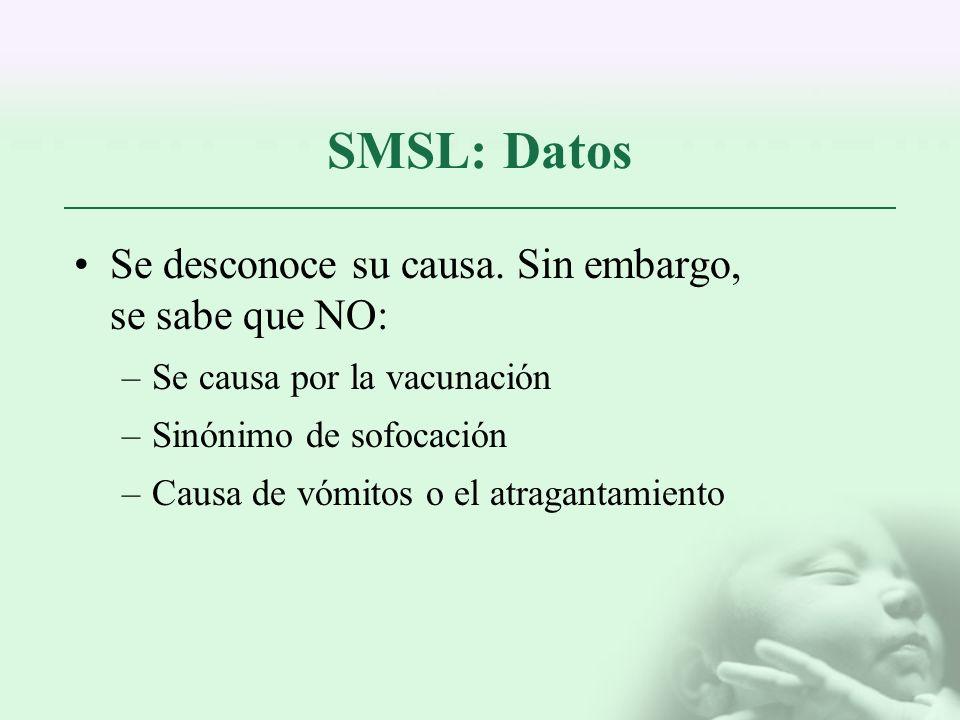 SMSL: Datos Se desconoce su causa. Sin embargo, se sabe que NO: