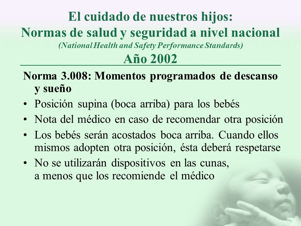 El cuidado de nuestros hijos: Normas de salud y seguridad a nivel nacional (National Health and Safety Performance Standards) Año 2002