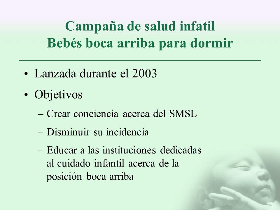 Campaña de salud infatil Bebés boca arriba para dormir