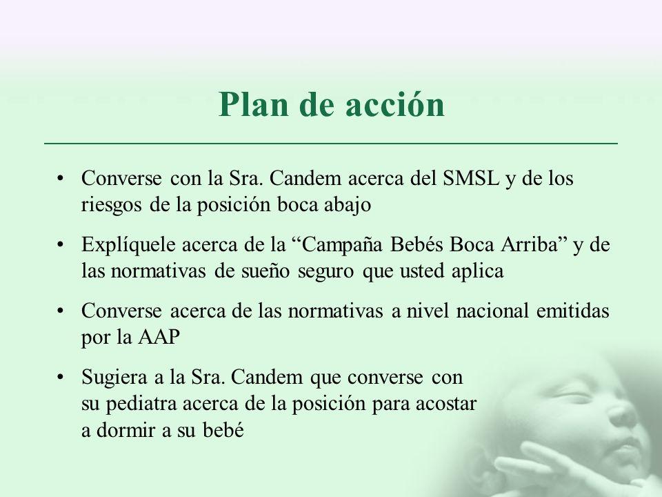 Plan de acción Converse con la Sra. Candem acerca del SMSL y de los riesgos de la posición boca abajo.