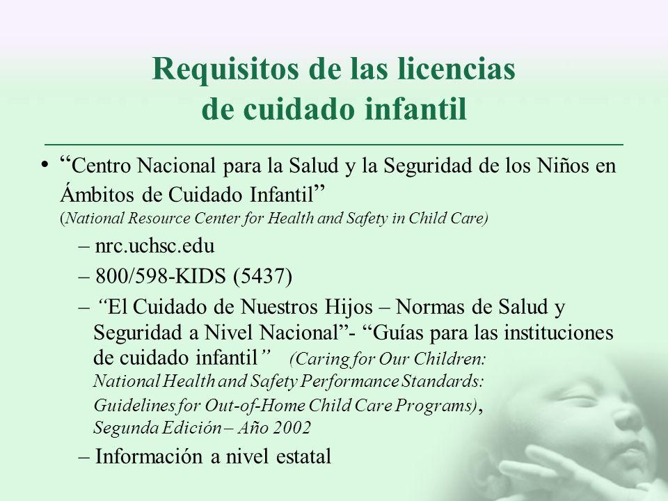 Requisitos de las licencias de cuidado infantil
