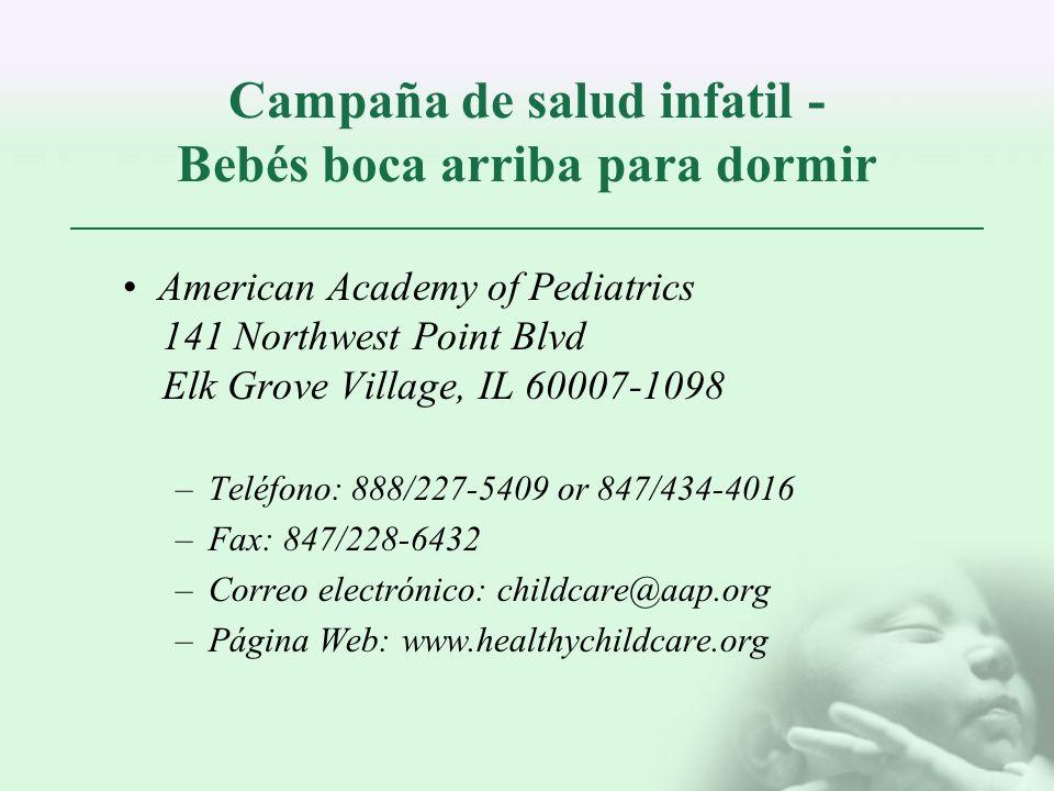 Campaña de salud infatil - Bebés boca arriba para dormir
