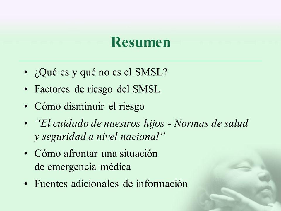 Resumen ¿Qué es y qué no es el SMSL Factores de riesgo del SMSL