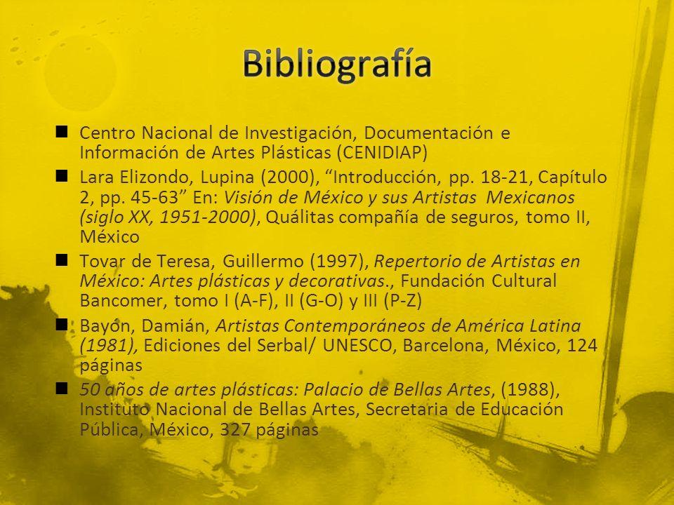 Bibliografía Centro Nacional de Investigación, Documentación e Información de Artes Plásticas (CENIDIAP)