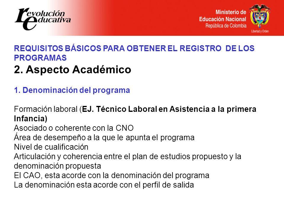 REQUISITOS BÁSICOS PARA OBTENER EL REGISTRO DE LOS PROGRAMAS