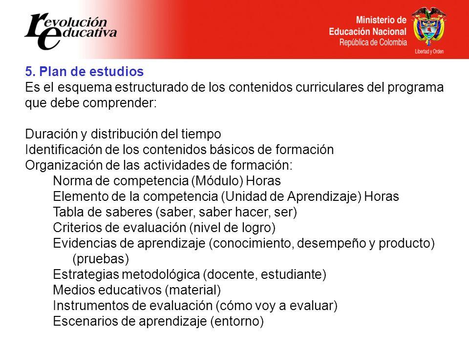 5. Plan de estudios Es el esquema estructurado de los contenidos curriculares del programa que debe comprender: