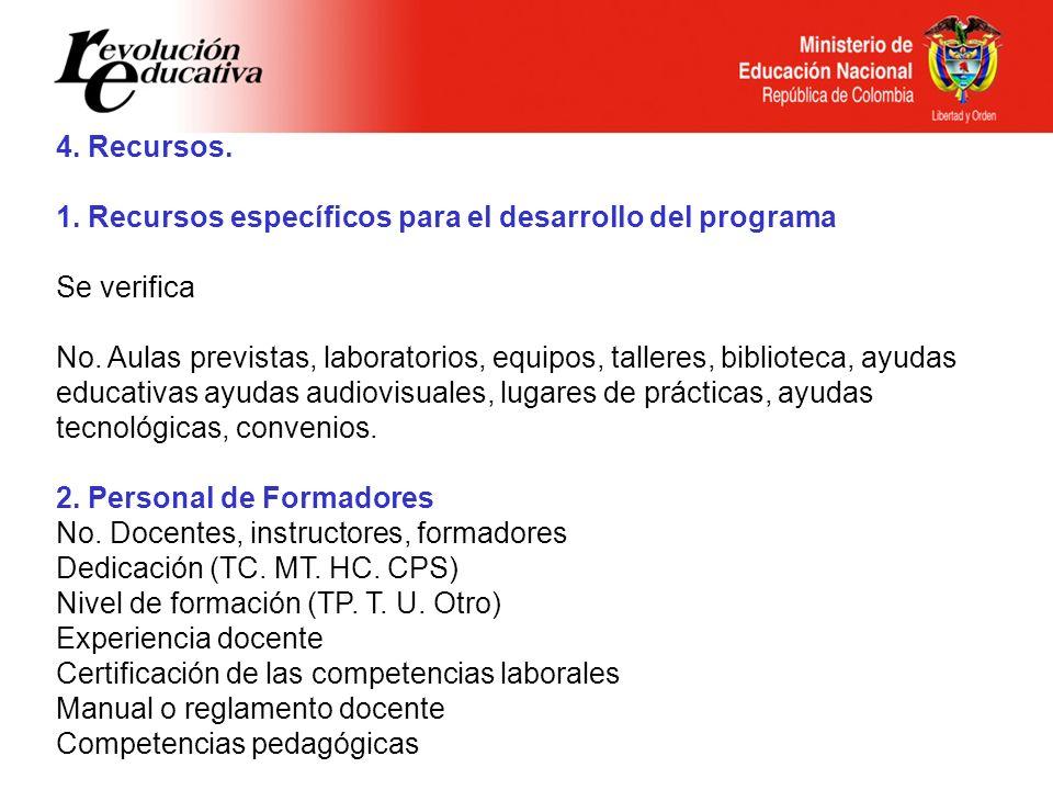 4. Recursos. 1. Recursos específicos para el desarrollo del programa. Se verifica.