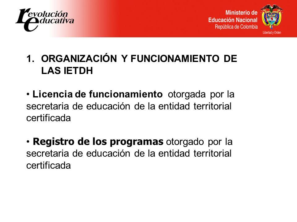 ORGANIZACIÓN Y FUNCIONAMIENTO DE LAS IETDH
