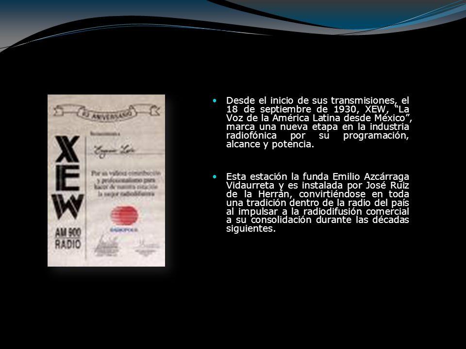 Desde el inicio de sus transmisiones, el 18 de septiembre de 1930, XEW, La Voz de la América Latina desde México , marca una nueva etapa en la industria radiofónica por su programación, alcance y potencia.