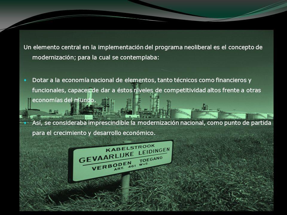 Un elemento central en la implementación del programa neoliberal es el concepto de modernización; para la cual se contemplaba: