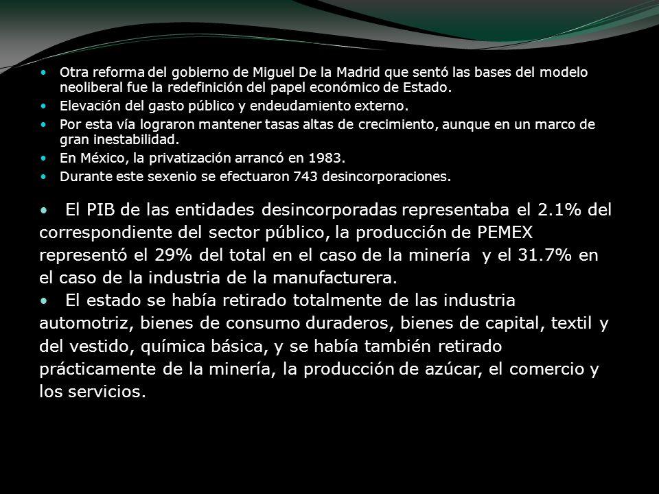 Otra reforma del gobierno de Miguel De la Madrid que sentó las bases del modelo neoliberal fue la redefinición del papel económico de Estado.