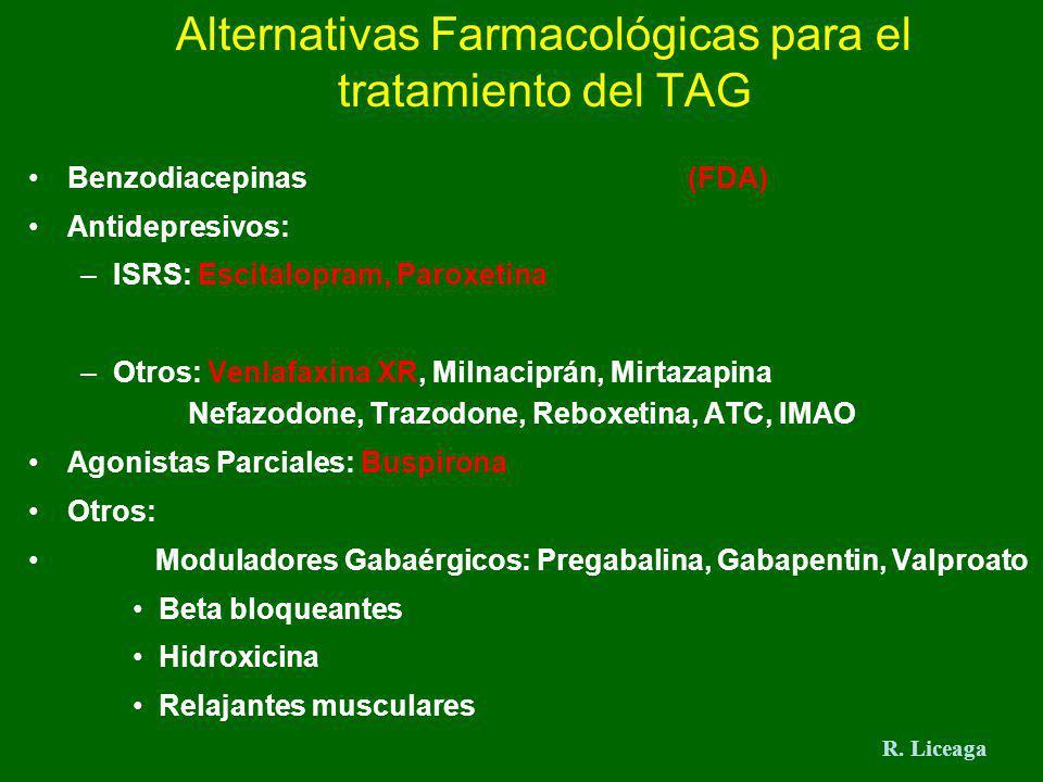 Alternativas Farmacológicas para el tratamiento del TAG