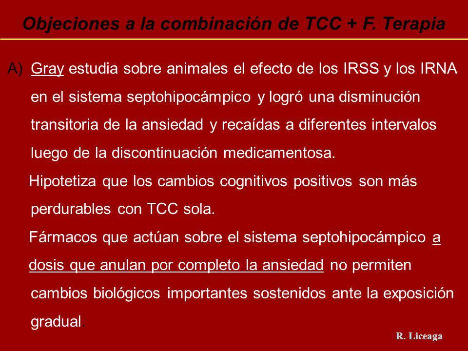 Objeciones a la combinación de TCC + F. Terapia