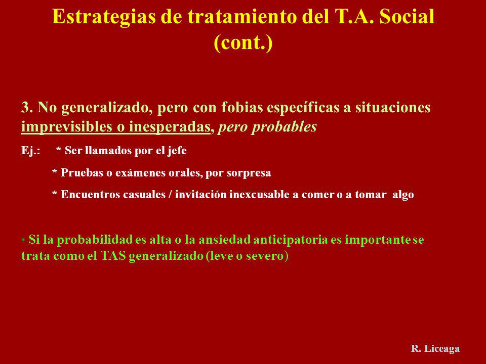 Estrategias de tratamiento del T.A. Social (cont.)