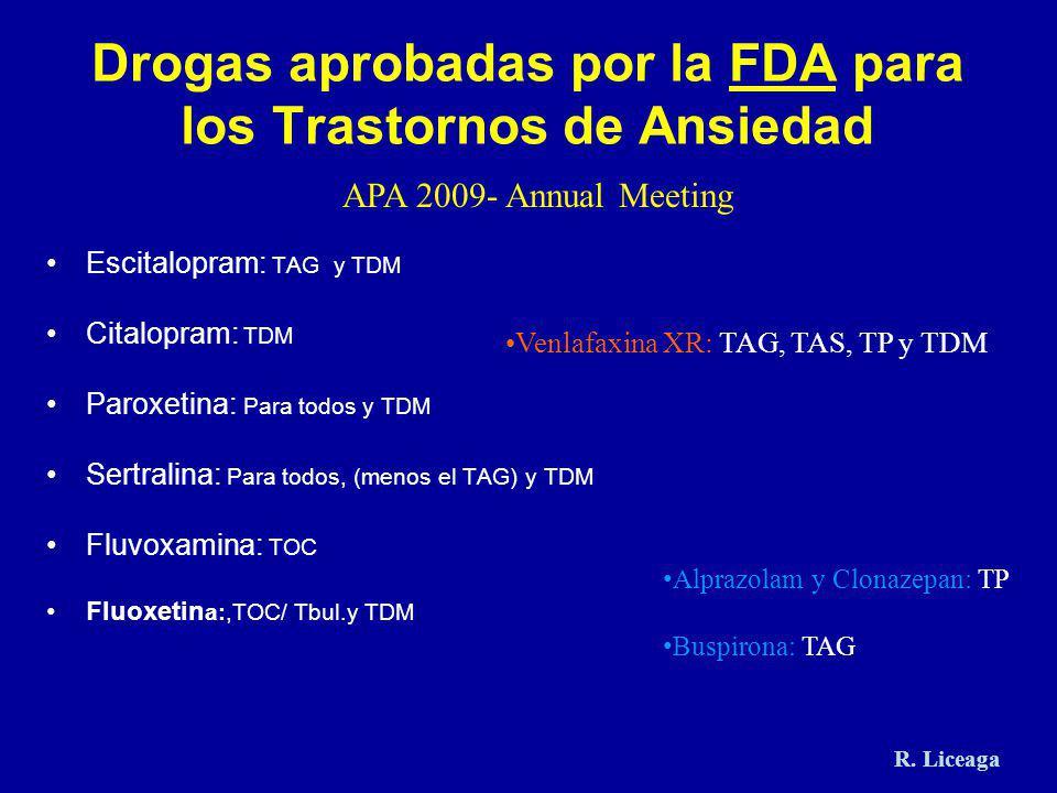 Drogas aprobadas por la FDA para los Trastornos de Ansiedad