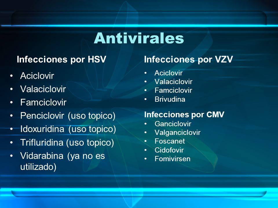 Antivirales Infecciones por HSV Infecciones por VZV Aciclovir