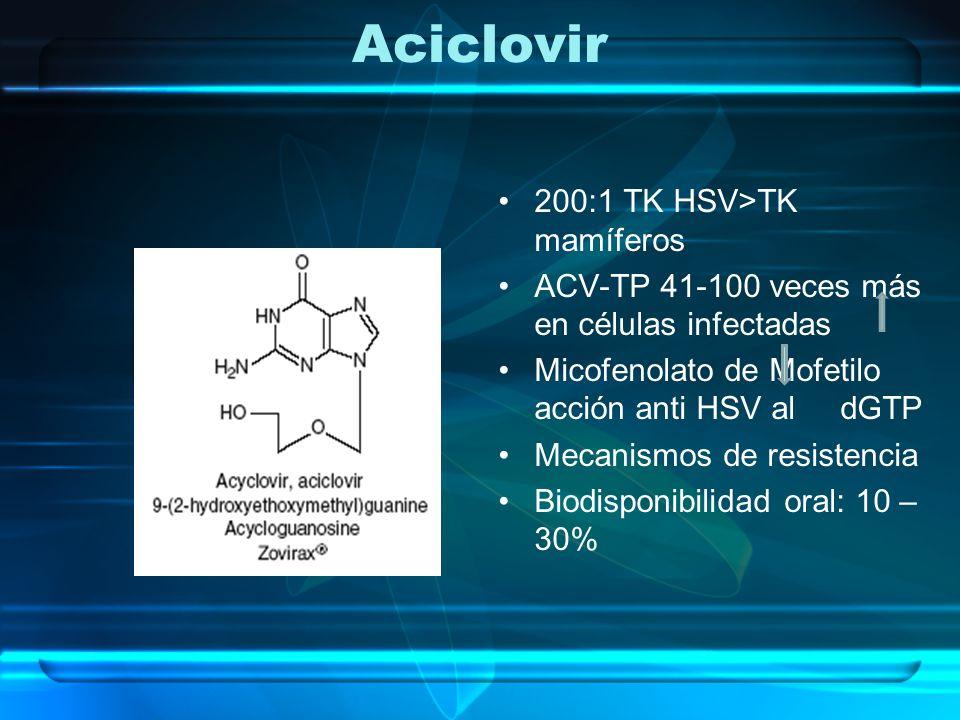 Aciclovir 200:1 TK HSV>TK mamíferos
