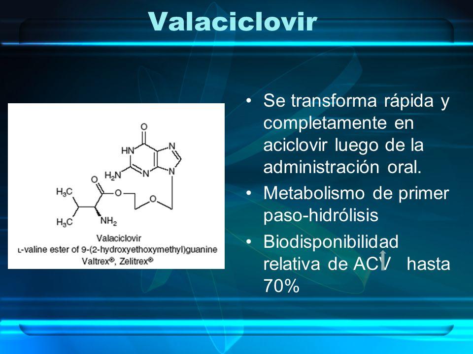 Valaciclovir Se transforma rápida y completamente en aciclovir luego de la administración oral. Metabolismo de primer paso-hidrólisis.
