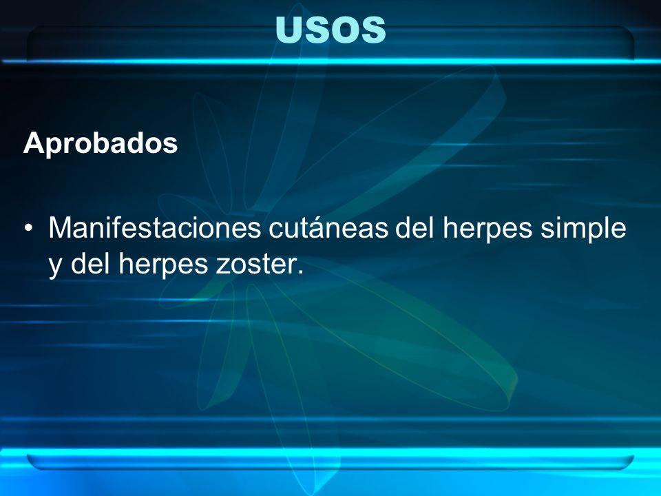 USOS Aprobados Manifestaciones cutáneas del herpes simple y del herpes zoster.