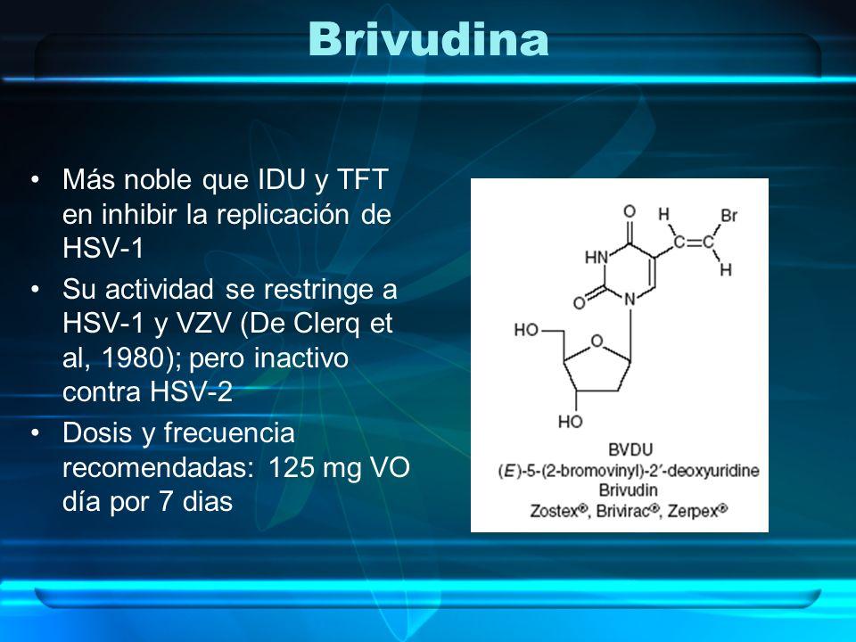 Brivudina Más noble que IDU y TFT en inhibir la replicación de HSV-1