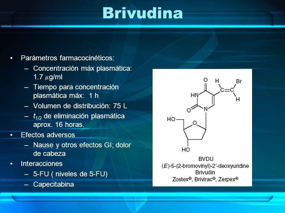 Brivudina Parámetros farmacocinéticos: