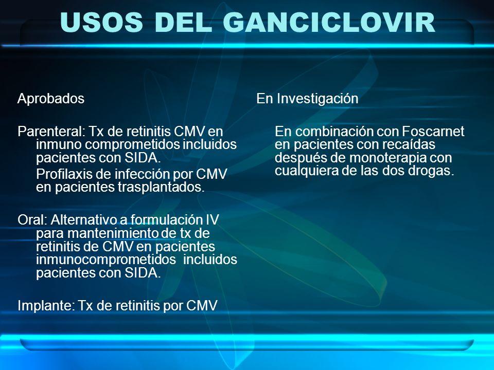 USOS DEL GANCICLOVIR Aprobados