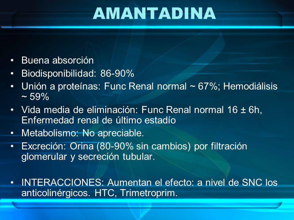 AMANTADINA Buena absorción Biodisponibilidad: 86-90%