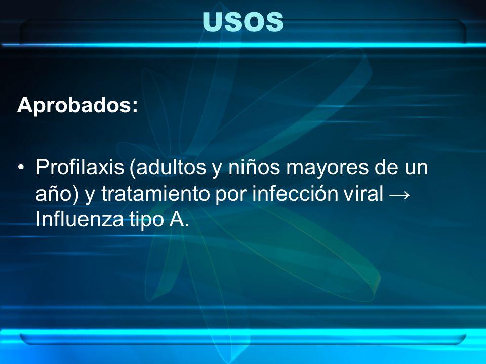 USOS Aprobados: Profilaxis (adultos y niños mayores de un año) y tratamiento por infección viral → Influenza tipo A.